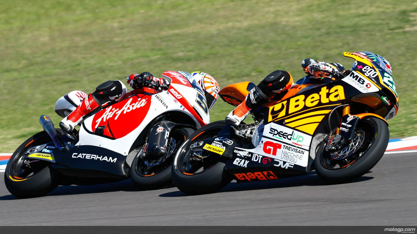 motogp.com · Sam Lowes, Johann Zarco, AirAsia Caterham Moto Racing, Speed Up, ARG RACE