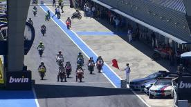 The Moto3™ FP2 session at the Gran Premio bwin de España saw ambient temperature hit 31°C and track temperatura reach 48°C in Jerez, as Efren Vazquez (SAXOPRINT RTG) led the way from Romano Fenati (SKY Racing Team VR46) and Miguel Oliveira (Mahindra Racing).