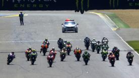 MotoGP™ World Champion Marc Marquez (Repsol Honda Team) produced another masterclass at Le Mans to win from pole again, with Valentino Rossi (Movistar Yamaha MotoGP) and Alvaro Bautista (GO&FUN Honda Gresini) also on the podium.