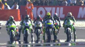The MotoGP™ action at the Monster Energy Grand Prix de France commenced on Sunday morning with Marc Marquez (Repsol Honda Team) leading Andrea Iannone (Pramac Racing) and Valentino Rossi (Movistar Yamaha MotoGP) at the head of the Warm Up timesheet.