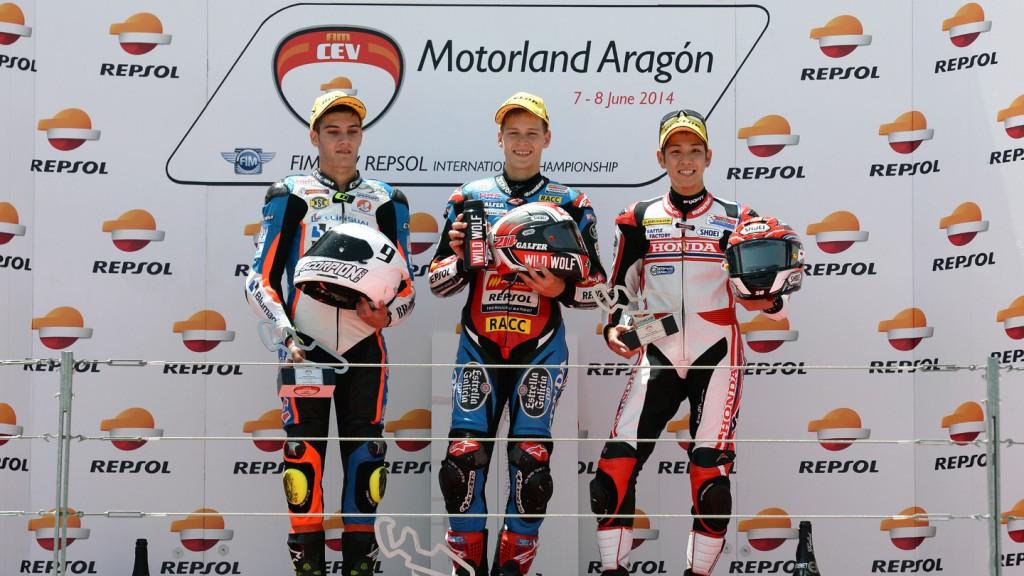 Fabio Quartararo, Jorge Navarro, Hiroki Ono, FIM CEV Repsol MotorLand Aragon Moto3 podium