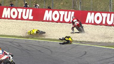 Catalunya 2014 - Moto2 - RACE - Action - Jonas Folger - Luis Salom - Crash