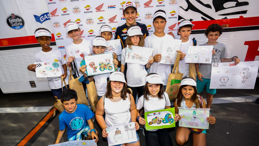Marc Marquez & children at KiSS Barcelona presentation