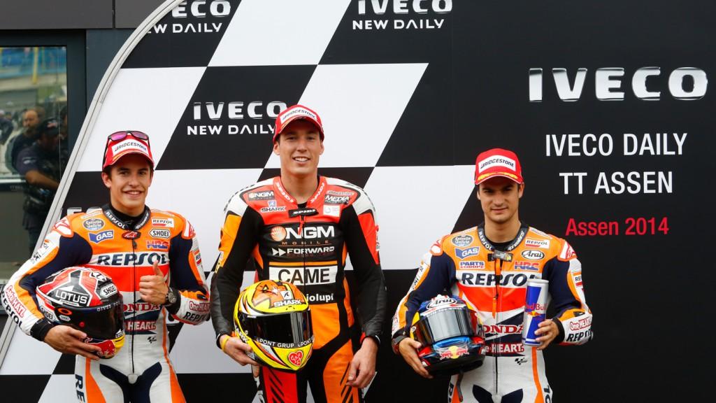 Espargaro, Marquez, Pedrosa, NGM Forward Racing, Repsol Honda Team, NED Q2