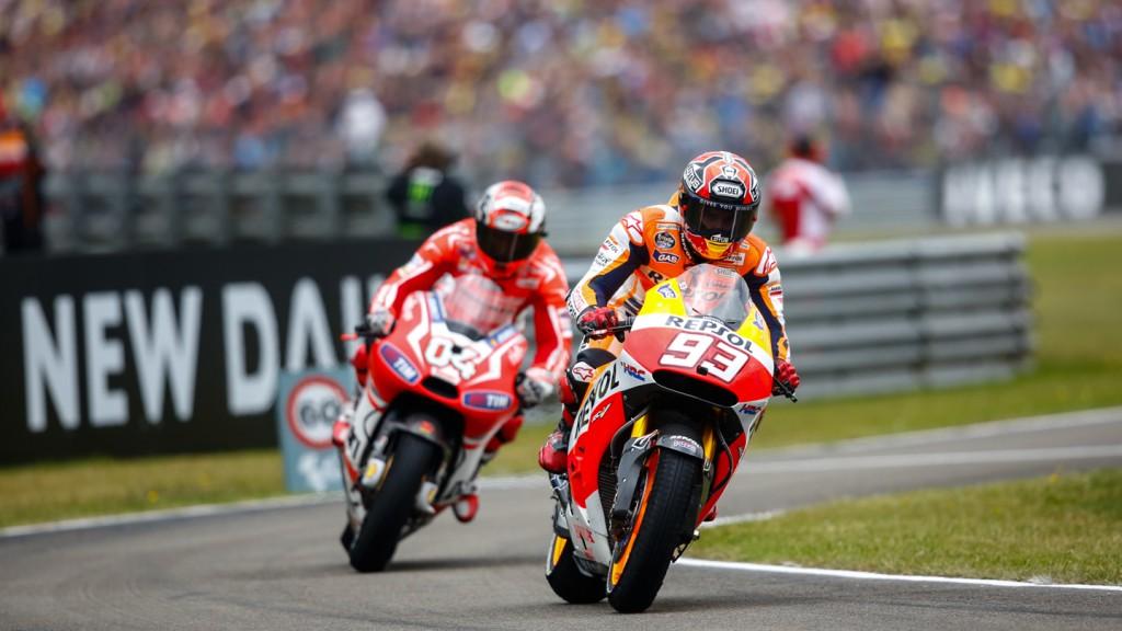 Andrea Dovizioso, Marc Marquez, Ducati Team, Repsol Honda Team, NED RACE
