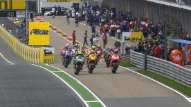 The start of the eni Motorrad Grand Prix Deutschland MotoGP™ contest was disrupted by pre-race rain, with race winner Marc Marquez and podium finishers Dani Pedrosa and Jorge Lorenzo all getting away from pit lane.