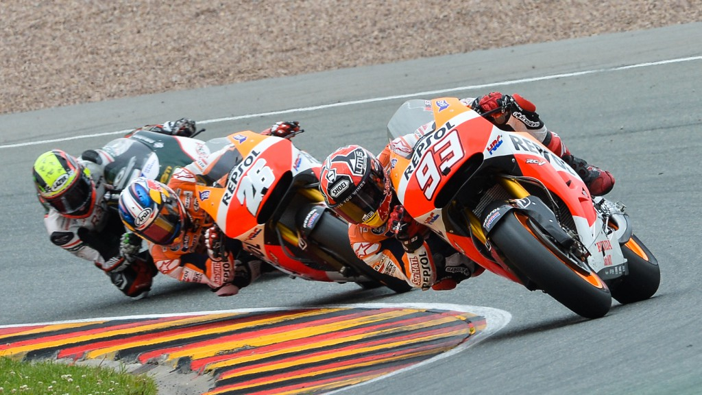Marc Marquez, Dani Pedrosa, Michael Laverty, Repsol Honda Team, Paul Bird Motorsport, GER RACE
