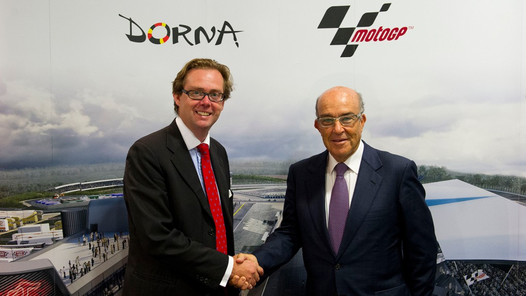 Michael Carrick, Chief Executive of the Circuit of Wales & Carmelo Ezpeleta, Dorna Sports CEO