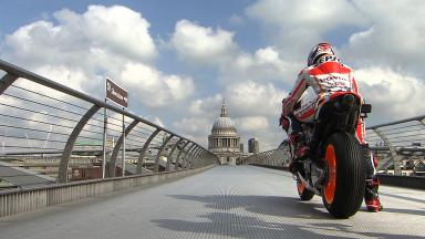 #MM93TakesLondon: Marquez rides over Thames en route to Silverstone