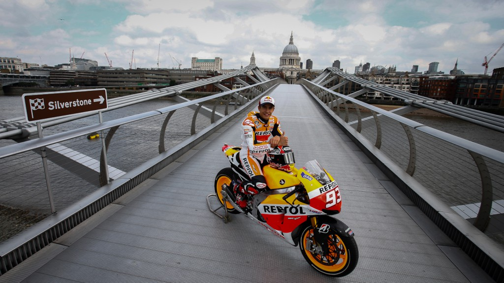 Marquez rides over Thames en route to Silverstone