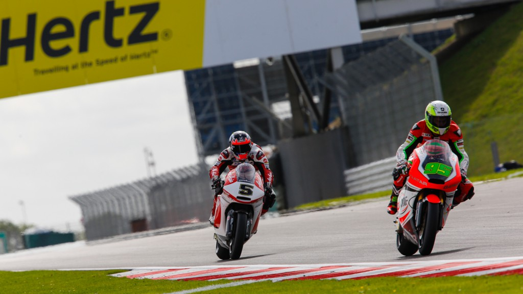 Anthony West, Johann Zarco, QMMF Racing Team, AirAsia Caterham, GBR FP2