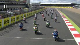 The Moto3™ race at the Hertz British Grand Prix was won by Alex Rins on the final corner, with Alex Marquez and Enea Bastianini also on the podium.