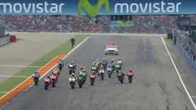 Jorge Lorenzo took victory in a chaotic dry-wet race at Aragon, ahead of Aleix Espargaro and Cal Crutchlow on the podium. The race saw drama as Italians Valentino Rossi and Andrea Iannone both suffered big crashes in the dry before Marc Marquez and Dani Pedrosa went down after the rain began to fall.