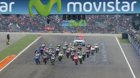 Romano Fenati judged the conditions best to take victory in the Moto3™ race in tricky conditions at the Gran Premio Movistar de Aragon, with Alex Marquez and Danny Kent and also on the podium. Marquez and previous championship leader Jack Miller were summoned by Race Direction after contact between the pair saw Miller crash early in the race.