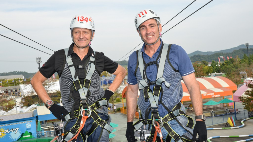 MotoGP Legends Schwantz and Doohan, Zipline Motegi
