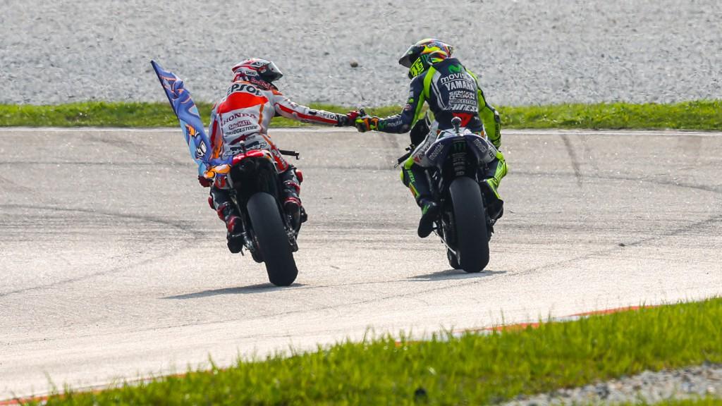 Marc Marquez, Valentino Rossi, Movistar Yamaha MotoGP, Repsol Honda Team, MAL RACE