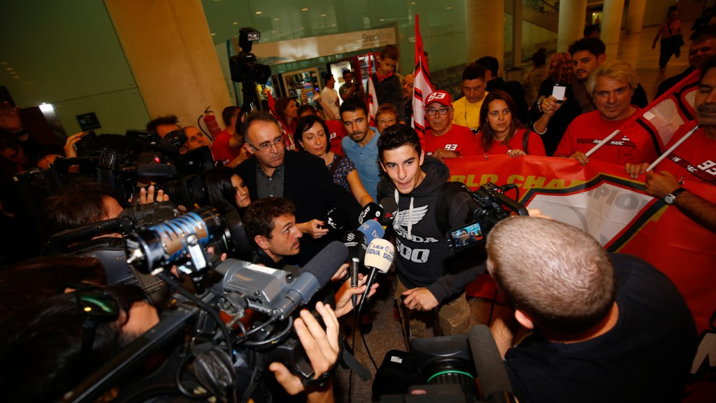 Marc Marquez arrival at Barcelona