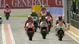 The MotoGP™ Q2 session saw Valentino Rossi grab pole at the Gran Premio Generali de la Comunitat Valenciana, with Andrea Iannone and Dani Pedrosa also taking front row slots. The session also saw Marc Marquez suffer a turn 4 crash without significant consequence, though he ended up fifth on the grid.