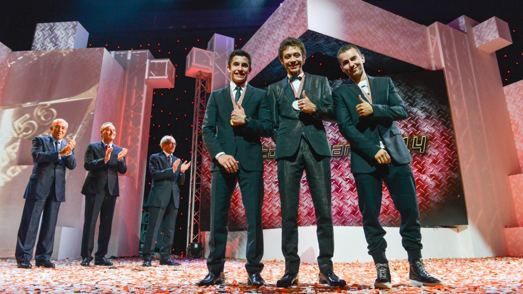 Marc Marquez, Valentino Rossi & Jorge Lorenzo at FIM Awards