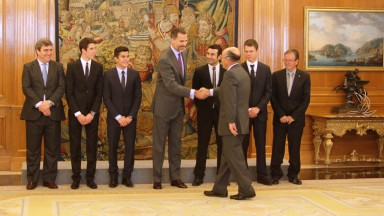 The King of Spain Felipe VI with Marc Márquez, Tito Rabat & Alex Marquez