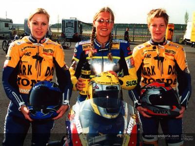 Katja Poensgen visita a los pilotos de la Dark Dog Challenge to MotoGP
