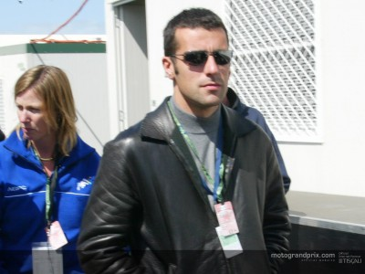 Dario Franchitti heads down to take in the action on the island