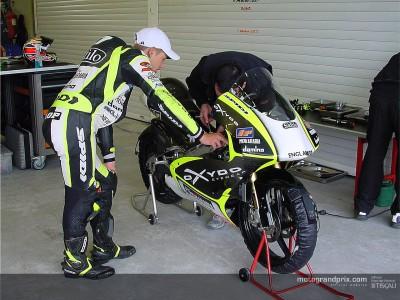 Casey Stoner evaluates his first laps aboard the Aprilia 125