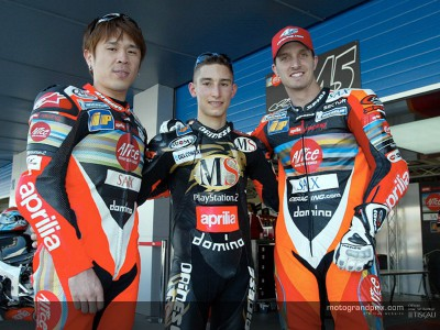 Edwards, Haga and Poggiali attend the Aprilia World Meeting starting today in Noale
