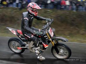 Images of De Angelis competing in the final Supermoto GP of the season