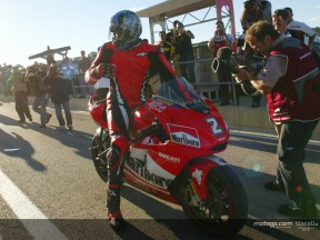 Michael Jordan rides the Ducati Desmosedici
