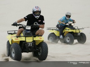 MotoGP on quads along the sand dunes