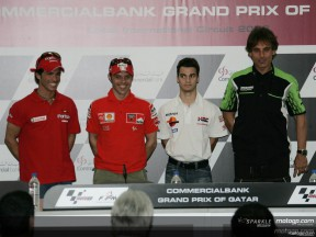 MotoGP riders face the press in Qatar