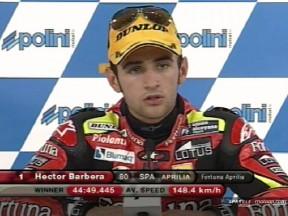 Barbera takes maiden 250cc win