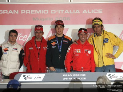 Rossi, Hayden, Melandri, Pedrosa and Capirossi speak at press conference