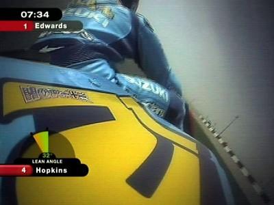 La inclinación de la moto, en la cobertura del MotoGP