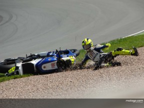 Rossi's title challenge dented by Sachsenring crash