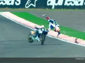 Caída brutal de Melandri al inicio de la sesión libre de MotoGP