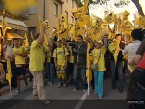 El Fan Club de Rossi marcha a pie desde Tavullia al circuito de Misano