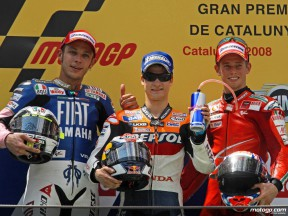 Pedrosa, Rossi and Stoner give thoughts from the MotoGP podium