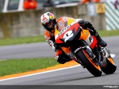 Una caída interrumpe el test de Pedrosa, Hayden sigue probando el nuevo motor de Honda