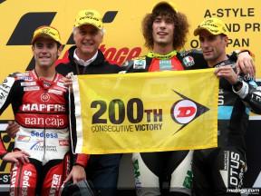 Dunlop celebra las 200 victorias consecutivas en 250cc
