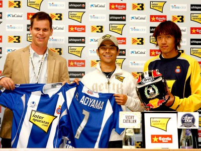 Aoyama in visita al RCD Espanyol a Barcellona