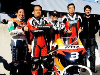 HRC bosses take to the track at Motegi