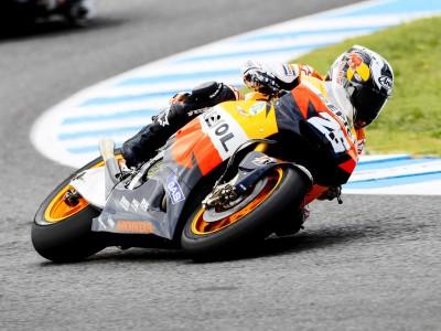 Test di Jerez: cade Rossi, Pedrosa davanti