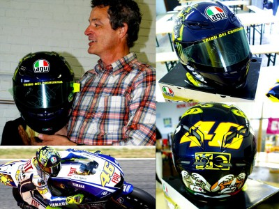 Rossi helmet up for auction