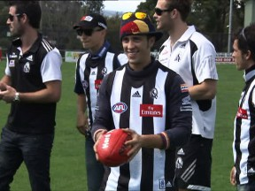 MotoGP stars try a spot of Aussie rules