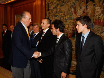 King of Spain, Don Juan Carlos, greets 2010 World Champions