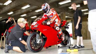 2006 MotoGP World Champion Nicky Hayden tests refurbished IMS circuit