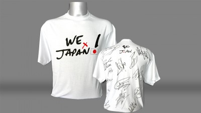 """Bid now for the original """"We are for Japan"""" T-shirt – signed by all the MotoGP riders!"""