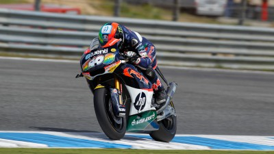 Espargaró davanti nel warm up in Portogallo